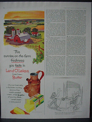 1959 Land O'Lakes Sweet Cream Butter Dairy Farm Barn Vintage Print Ad 12408