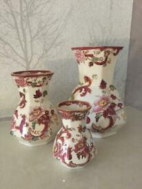 "MASON IRONSTONE - Set Of 3 ""Hydra"" Vases - (Mandalay Red)"