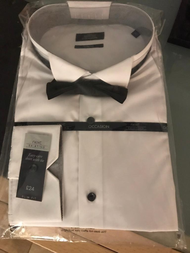Mens White Wing Collar Shirt And Bow Tie Set In Newbridge