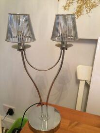 John Lewis silver table lamp, ideal reading light or bedside light