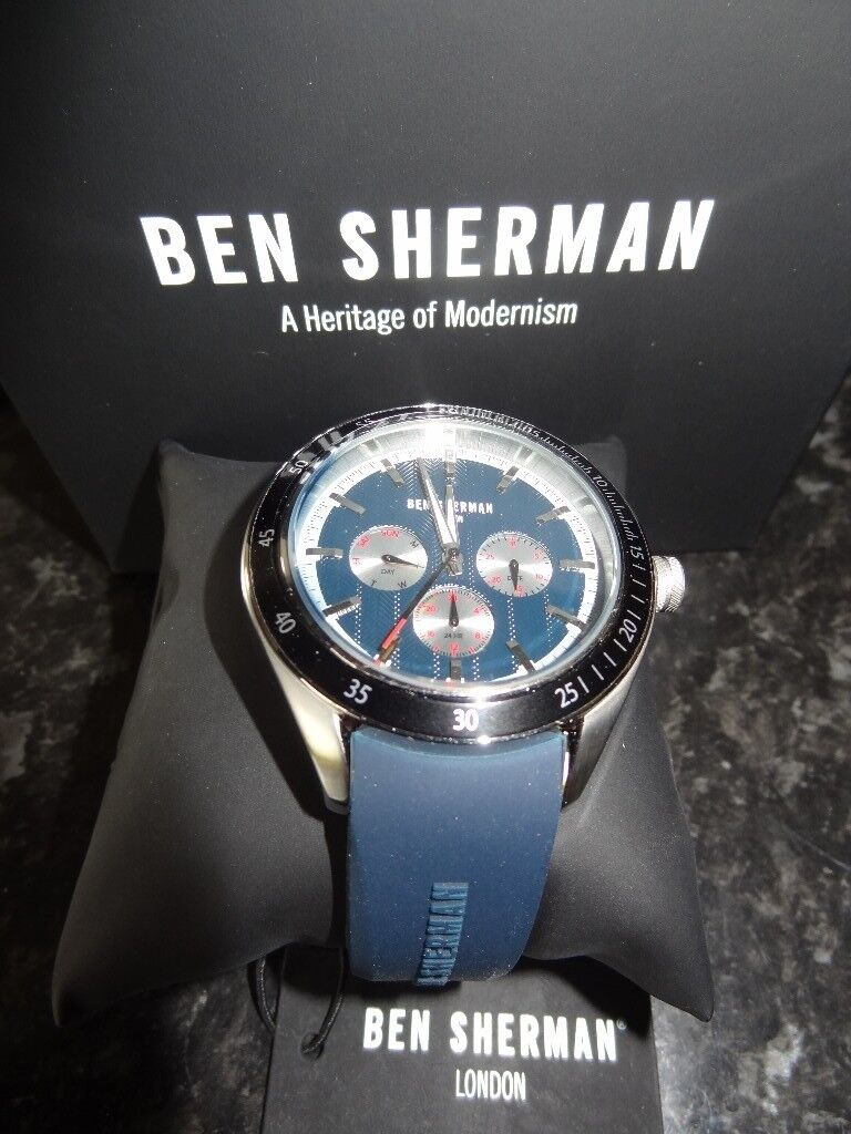 Ben Sherman Men's Quartz Watch with Blue Dial Analogue Display and Blue Silicone Strap WB011U New