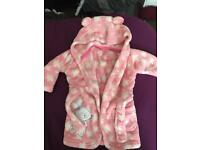 0-3 baby girls dressing gown