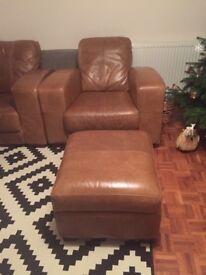 Set of 2 sofa plus footstool