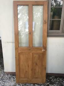 Wooden internal door, glass panel