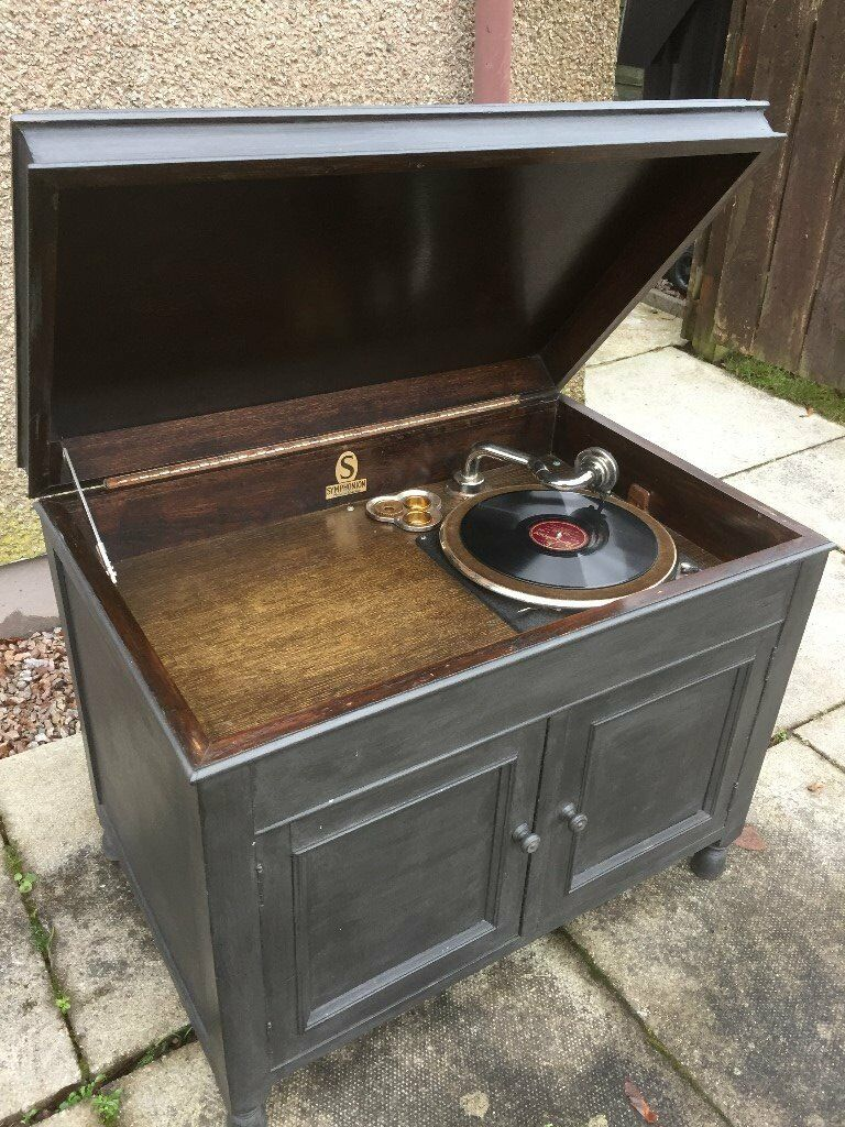 ANTIQUE LARGE BOXED SYMPHONIUM RECORD PLAYER WIND UP MODEL IN MODERN CASE WORKING ORDER
