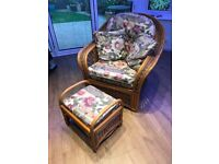 Conservatory Cane Furniture - 4 x Chair and 1 x Stool