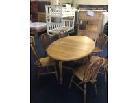 SOLID OAK DROP LEAF TABLE AND WHEELBACK CHAIRS! CHEAP!