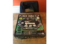 Poker Table Top with mat, chip and drink holders