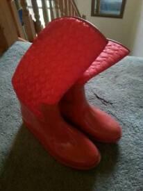 Wellies with quilted tops size 4 red ladies women's girls