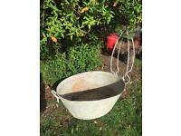 Vintage galvanised herb garden metal bath planter wedding prop galvanised