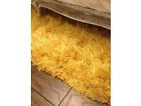 Rug, yellow mustard, shaggy, thick, VERY high quality, 160 by 240