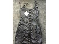 Leather black mini dress Brand. New UK 4