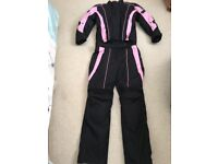 Ladies' black and pink motorbike jacket and trousers for sale