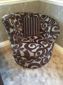 DFS Poise swivel snuggle chair brown and beige fabric VGC