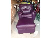 Leather recliner chair and matching storage footstool