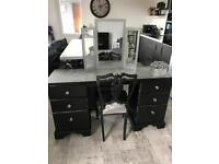 Black glittery dressing table with mirror & crushed velvet chair