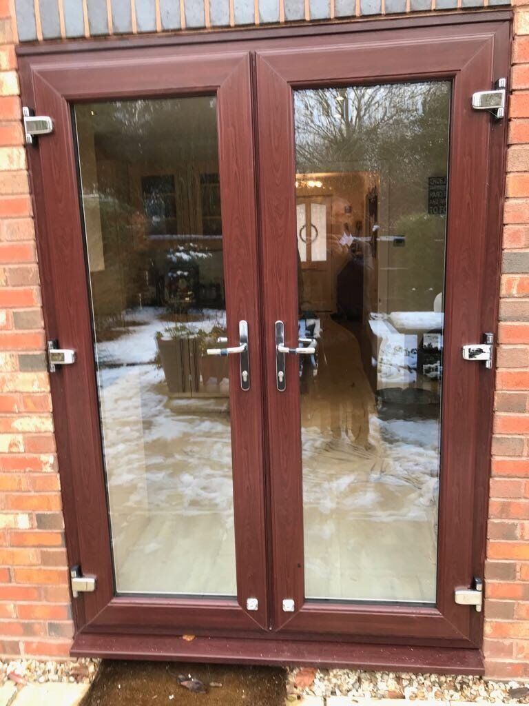 Preowned Upvc French Doors Rosewood On White In