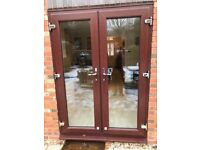Preowned UPVC French Doors -Rosewood on White