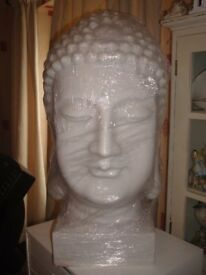 LARGE BUDDA HEAD IN WHITE,VERY HEAVY/GREAT DECORATERS PEICE