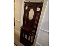 Antique Hall Stand with mirror, drawer and umbrella stands