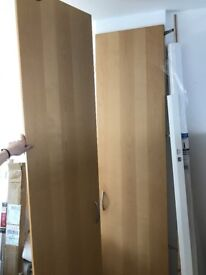 Ikea Pax Wardrobe Doors - 229cm Tall, Hinged, Beech Effect Woodgrain