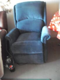 Blue electric recliner chair