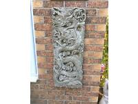 Large stone garden Chinese oriental wall plaque, fantastic detail. New