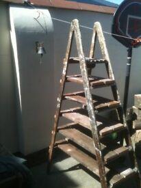 Original wooden step ladder shelves - brill for displays, bars, cafes or your house/garden!!