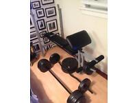 Weight bench and 60kg off weights