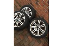 "Bmw 17"" alloy wheels and tyres Genuine Msport 320 330 325"
