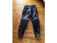 Ladies black TEKNIC Leather motorcycle trousers size UK 10 / EU 38
