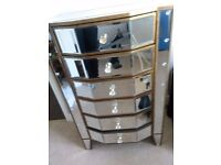mirrored art deco style tallboy