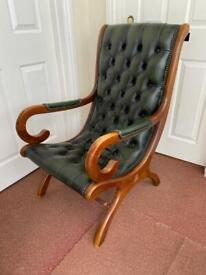 Chesterfield Leather Slipper Chair green mid century vintage SUPERB Condition