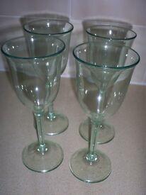 4 x Plastic Green Tint Wine Glasses