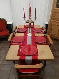 Oak Table and 6 vintage Chapel Chairs
