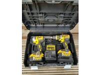 Dewalt 18V Brushless impact and combi drill with two 5.0Ah battery and charger