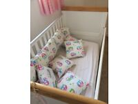Cot bed, with mattress and bumper cushions