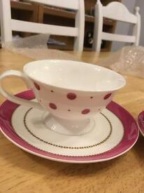 Laura Ashley Spot Pink China Cups Mugs