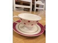 Laura Ashley Spot Pink China Cups Mugs