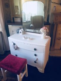 Vintage shabby chic dressing table with mirror and stool