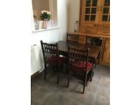 Antique solid oak refectory extending dining table with 6 matching chairs £80