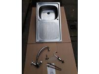 Kitchen sink, stainless steel, 86x50cm