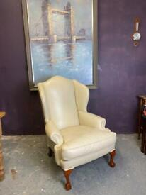 Fabulous quality and condition Georgian style cream leather scroll arms wingback armchair