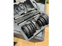 Dumbbells in case screw on bars and metal weights £25