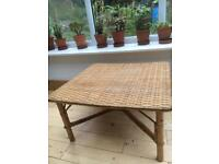 Cute Cane/Bamboo/Rattan Coffee Table. Mid Century Style.