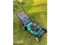 "Qualcast 19""cut petrol push lawnmower heavy duty deck VGC Briggs500series mower serviced sharpened"