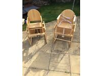 2x wooden high chairs