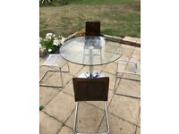 Glass round table with four chairs - John Lewis