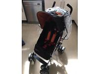 Cosatto buggy with foot muff, hood, rain cover, under seat storage and clip on bag