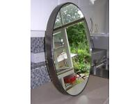 OVAL VINTAGE ART DECO WALL MIRROR